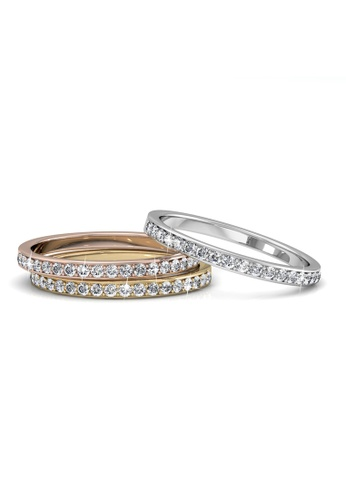 Her Jewellery gold Swarovski® Crystals - Trinity Ring (18K White Gold Plated) Her Jewellery HE581AC0RACXMY_1
