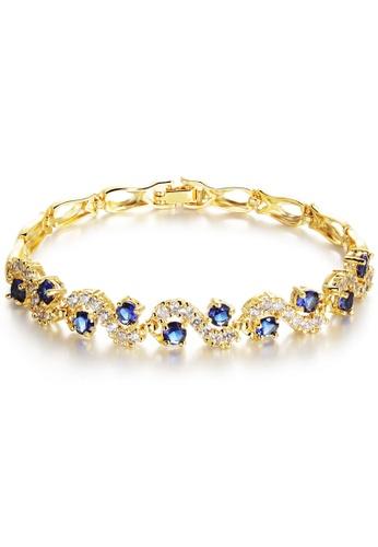 YOUNIQ blue and gold YOUNIQ Blue Crescent CZ 18K Gold Plated Bracelet CB4D6AC8F7E8CBGS_1