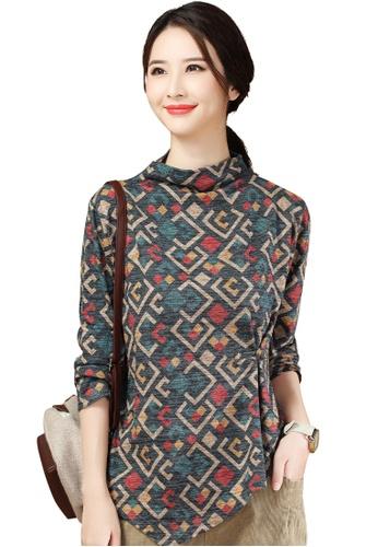 A-IN GIRLS multi Retro Half High Collar Irregular T-Shirt 94674AA2C072E4GS_1