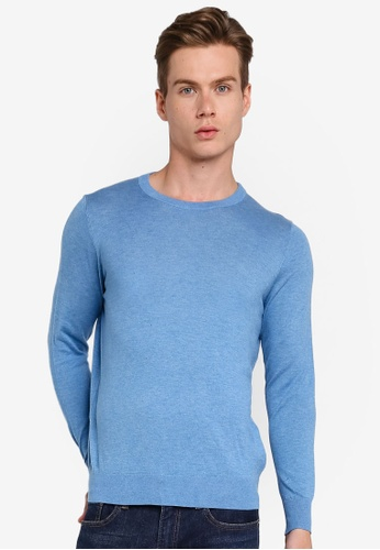 Gay Giano blue Extra Fine Crew Neck Knit Sweater 283ADAA7C42A9AGS_1