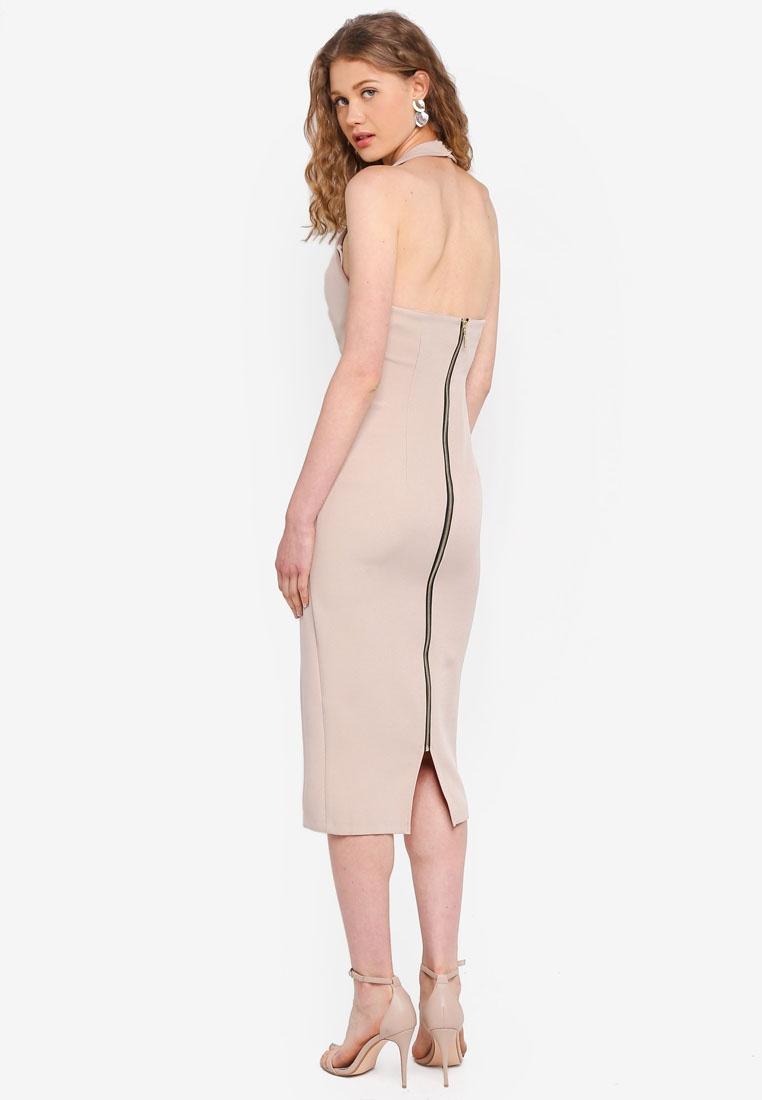 Double Split Vesper Dress Champagne Ayda Midi Nude d45S4qw
