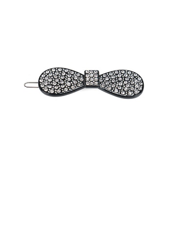 Glamorousky white Simple and Bright Black Ribbon Hair Clip with Cubic Zirconia 50E0DAC4983CA0GS_1