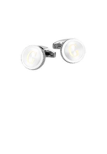 Glamorousky silver Fashion Simple English Alphabet G Round Cufflinks AFE47AC92ED8D3GS_1