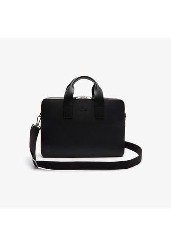 Lacoste black Lacoste Men's Chantaco Matte Piqué Leather Computer Bag 30A72AC8E87006GS_1