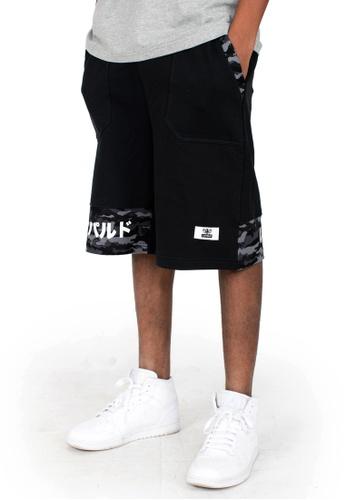 Reoparudo 黑色 RPD 迷彩拼布休閒短褲 (黑色) E0025AA6FF6648GS_1