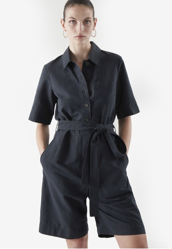 COS blue Belted Linen Playsuit 09C8FAA9D3677CGS_1
