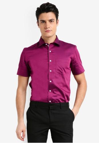 UniqTee pink Short Sleeve Textured Shirt 71D5AAAF031D1FGS_1