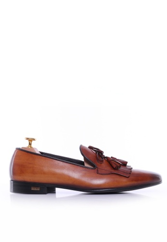 Zeve Shoes brown Zeve Shoes Loafer Slipper - Cognac Tan With Fringe Tassel (Hand Painted Patina) CB556SHB354C99GS_1