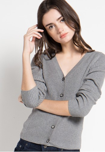 Noir Sur Blanc grey Ladies Cardigan Long Sleeve With Button NO321AA14XZLID_1