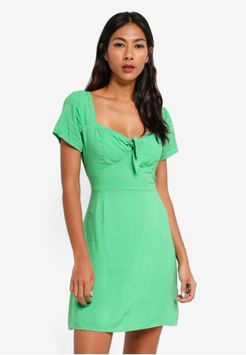 Factorie green Woven Tie Front Short Sleeve Dress BFCFAAAEFF723FGS_1