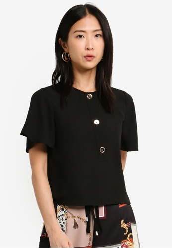 BYSI black Basic Button Frill Top A97D2AA515425AGS_1