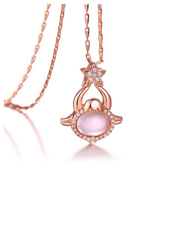 Glamorousky pink Plated Rose Gold Twelve Horoscope Capricorn Pendant with White Cubic Zircon and Necklace A43B5ACECC917EGS_1