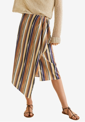 Mango blue Ruffled Striped Skirt FDF87AA67D89DBGS_1