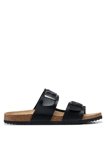 Brave Soul black Anthony Cork Sandals with Strap and Buckle 31773SHA1B5235GS_1