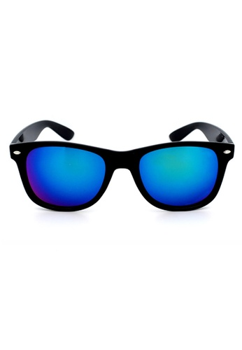 Elitrend blue Unisex Classic Designer Sunglasses in Reflective Blue/Green EL890AC92XDNSG_1