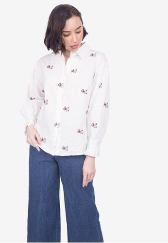 Caoros white Embroidered Button Down 4251EAA9B01970GS_1