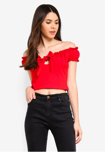 bfd5bcc8ed9fc MISSGUIDED red Milkmaid Tie Front Bardot Crop Top 77585AAAA0E8A2GS 1