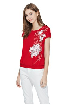 【ZALORA】 OUWEY歐薇 蕾絲花朵裝飾連袖棉質上衣
