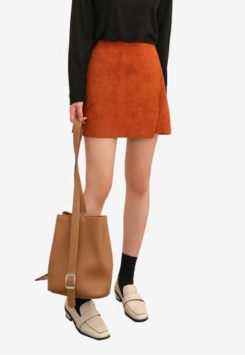 NAIN brown Suede Finish Overlap Mini Skirt 4F3C8AA62F9F4DGS_1