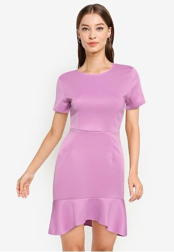 ZALORA WORK purple Drop Hem High Low Mini Dress C55CAAA51BBF66GS_1