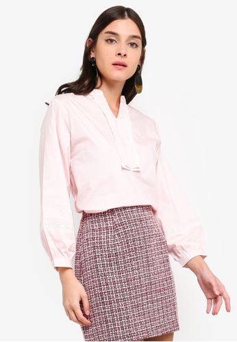 ZALORA 粉紅色 Cropped Sleeves Shirt 57F72AA07D54A9GS_1