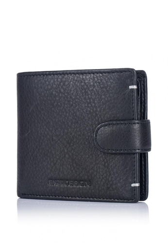 ENZODESIGN black and grey and multi Ultra Soft Cow Leather Snap Closure Coin Compartment Leather Wallet (Flip out I.D.) EN115AC0JAD7PH_1