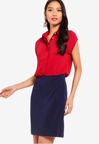 ZALORA 紅色 and 海軍藍色 Shirt Dress With Bodycon Skirt 8EBAEAAC7CBBB0GS_1