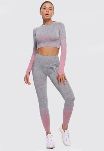 Twenty Eight Shoes pink VANSA Pure Color Long-Sleeved Yoga Set  VPW-YTZ666 4BA73AAA5BA236GS_1