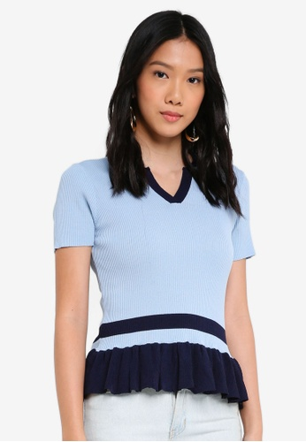 ZALORA navy Frill Hem Knitted Top 23F99AA923FEC6GS_1