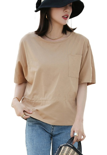 Sunnydaysweety beige Korean Style Round Neck Blouse With Drawstring Waist Top A21031203KI 5AE50AA5427B0AGS_1