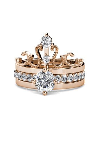 Her Jewellery gold Royalty Ring (Rose Gold) - Made with Premium grade crystals from Austria 66C5FAC86B11BDGS_1