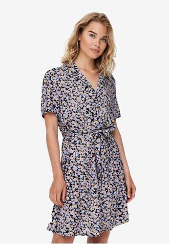 JACQUELINE DE YONG black and purple Isaak Short Sleeves Shirt Dress 5E6E6AA2897F26GS_1