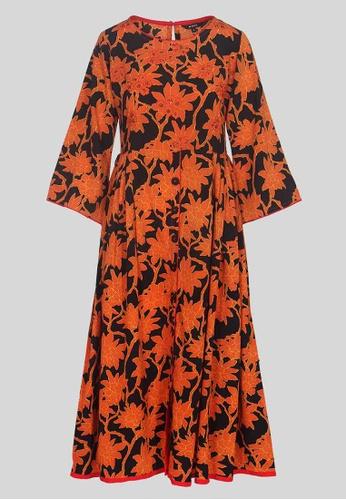 Le Reve black and orange Le Reve Front Button Long Swing Dress 9535BAAD6019A1GS_1