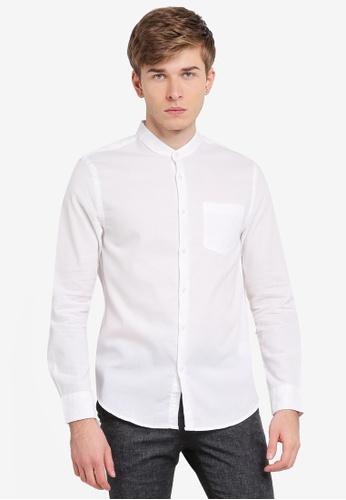 Electro Denim Lab white Dobby Mandarin Collar Shirt EL966AA0SPC3MY_1