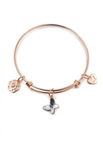 Glamorousky silver Elegant Plated Rose Gold Butterfly Rose Bangle with Austrian Element Crystal B4B83AC11E07FCGS_1