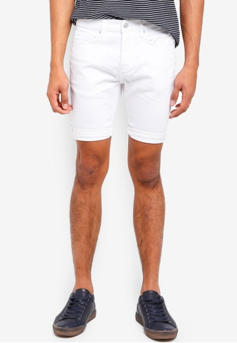 Topman white White Stretch Skinny Shorts 6887EAA4ABF296GS_1