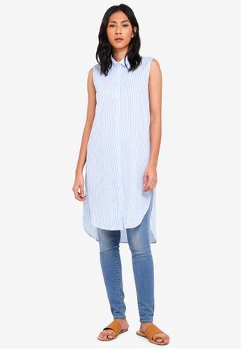 OVS white and blue Stripe Sleeveless Shirt 7D069AA7CBA538GS_1