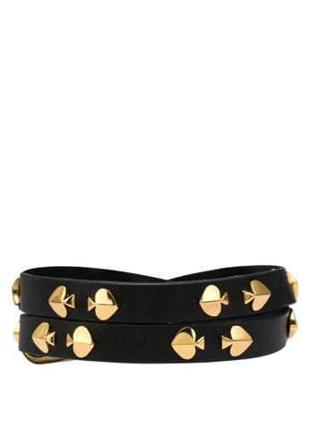 kate spade new york black Studded Leather Wrap Bracelet 8FB13AC48EDCBCGS_1