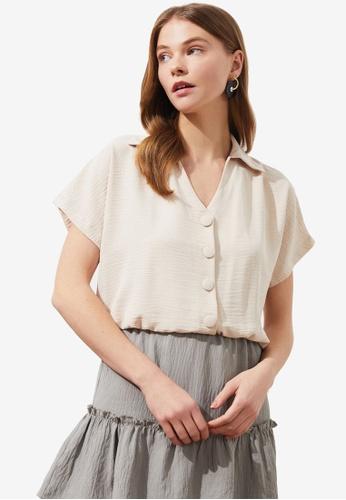 Trendyol beige Short Sleeve Elastic Waist Crop Shirt A4A56AA4E11BDEGS_1