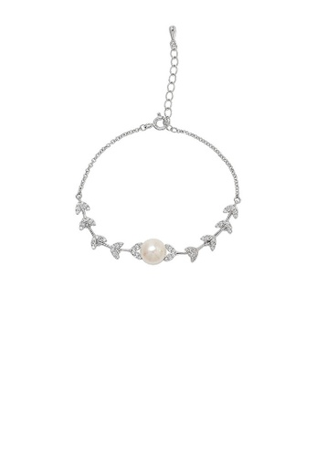 Glamorousky white 925 Sterling Silver Fashion Simple Leaf Freshwater Pearl Bracelet with Cubic Zirconia 3B1B3AC26ED796GS_1