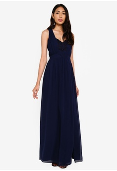 4d762fe5f5add Little Mistress navy Navy Tie Back Maxi 73AE5AA47D336AGS_1