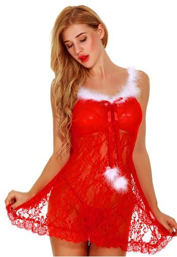 LYCKA 紅色 LEB9015-女士性感襯裙與內衣套裝-紅色 F4EDDUSFA8DE3EGS_1