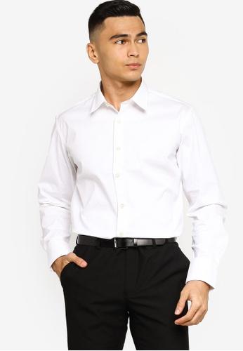 Sacoor Brothers white Slim fit super comfort easy iron shirt ECAE2AAE0FCCBCGS_1