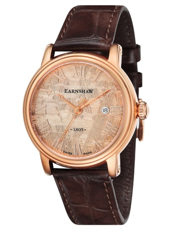 Thomas Earnshaw brown Thomas Earnshaw METEORITE  ES-0026-03 Men's Brown Genuine Leather Strap Watch CBEBFACA2AB437GS_1