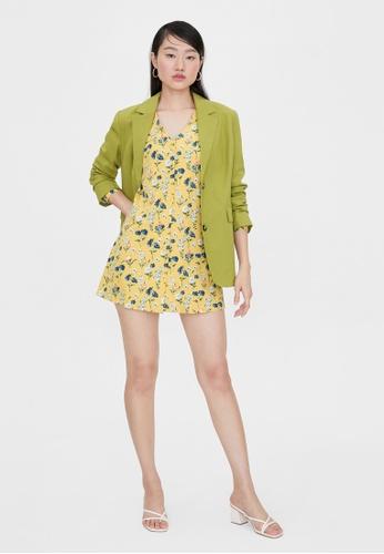 Pomelo yellow Floral Print Belt V Neck Dress - Yellow AFCC9AA66E65C1GS_1