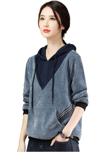 A-IN GIRLS blue Fashion Stitching Hooded Knitted Sweater 59D70AAE3E15D1GS_1
