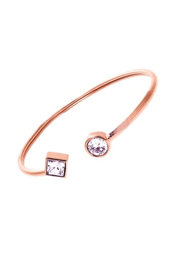 LOVENGIFTS gold LOVENGIFTS Simplicity Glitter Edge Open Cuff Bangle (Rose Gold) LO429AC49QIGMY_1