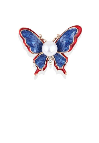 Glamorousky white Fashion and Elegant Plated Gold Enamel Color Butterfly Imitation Pearl Brooch FBF76ACA451151GS_1