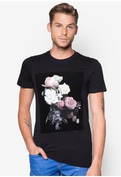Flocked Floral Print T-Shirt