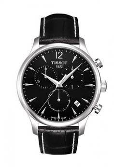 harga TISSOT Tradition Chronograph Jam Tangan Pria T0636171605700 - Leather - Black Zalora.co.id